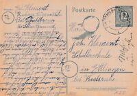 Postkarte verschickt aus Pfahlbronn nach Ettlingen aus dem Jahr 1947