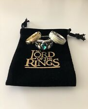 "Lord of the Rings ""One Ring"" 18K Plated & ""Ring of Barahir"" Combo Aragorn LOTR"