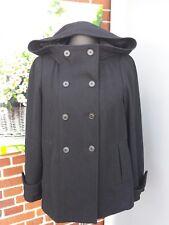 ZARA BASIC Damen Jacke Mantel ♥ Schwarz große Kapuze Taft gefüttert ♥ Gr. L  TOP