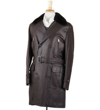 NWT $14,975 BRIONI Cashmere-Lined Leather Coat with Nutria Fur Collar M (Eu 50)