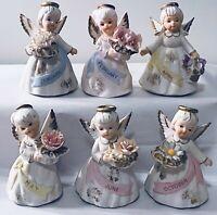 6 Vintage Lefton Birthday Angels Figurines Ceramic Jan Feb Apr May June Oct