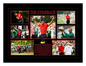 TIGER WOODS 'THE COMEBACK' 2019 MASTERS GOLF SIGNED PHOTO COLLAGE PRINT/FRAMED