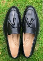 Men Slip On Tassel Belgian Loafers Handmade Black Dress Shoes Party Calf Leather