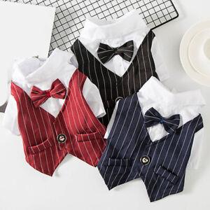 Pet Clothes Formal T Shirt Puppy Dog Cat Wedding Party Bowtie Tuxedo Vest Suit#