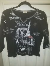 CACTUS Moulin Rouge black Eiffel Tower shirt with rhinestones sz XL