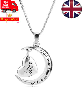 UK I Love You To The Moon And Back 925 Sterling Sliver Pendant & Necklace Gift