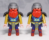 PLAYMOBIL 2 x Figur Zwerg Ritter Dwarf Knight Kettenhaar Bart blau/ocker TOP  #4
