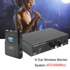 In-ear IEM Wireless UHF Stereo Monitor System LED Receiver Digital 670 - 680Mhz