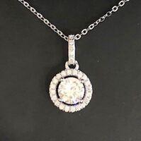 2 Ct Round Diamond Halo Pendant Necklace Women Wedding Engagement Jewelry