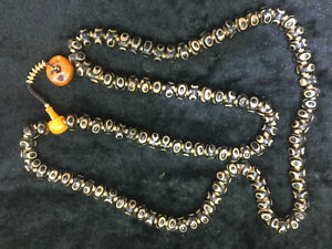 39 Inche  Pure Tibetan Old Dragon Vein Agate Dzi *3Eyed* 108 Disc Beads Necklace