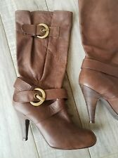 Russell & Bromley Soft Glove Brown Leather Slouch Buckle Boots Spain sz 7 - 7.5