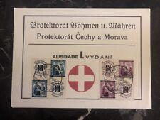 1940 Prague Bohemia Moravia Germany First Day Souvenir Sheet Cover FDC RedCross