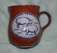 Jb-016 Pig, Swine Stoneware Pottery Coffee Mug Vintage, Pork, 4-inches tall