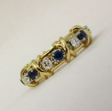 TIFFANY &Co 18K Gold Schlumberger Sixteen Stone Diamond Blue Sapphire X Ring 7.5