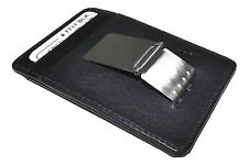 NEW ITALIA LEATHER MEN'S RFID PROTECTED FRONT POCKET MONEY CLIP ID WALLET BLACK