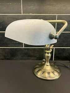 Bankers Piano Desk Lamp White Frosted Speckled Shade Brass Tone Base