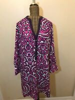 JUICY COUTURE - PINK PURPLE WHITE MULTI-COLOR LONG SLEEVE DRESS - M
