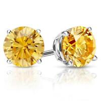 4 Ct Round Cut Yellow Diamond Earrings in Solid 14k White Gold Screw Back Studs