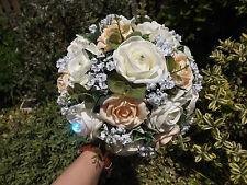 Wedding Bouquet ivory&apricot roses,eucalyptus,ivy,gypsophilia,pearls,diamante