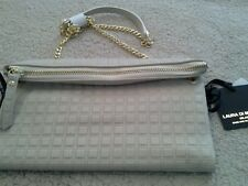 LAURA DI MAGGIO MADE IN ITALY LEATHER folded top organizer clutch-  OFF WHITE GR