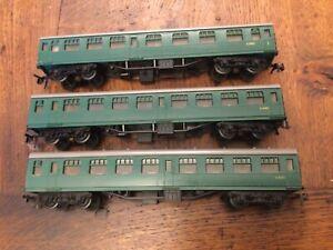 3 X Jouef Playcraft HO Gauge Model Railways SR Southern Regin Green Coaches Used