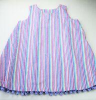 Girls CUTE AS A BUTTON vertical striped cotton sundress 7 purple dress pom pom