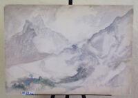 Tableau Vintage Ans Item # Signé Paysage De Montagne Alpes Avec Neige P30