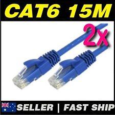 2 x 15m Blue Cat 6 Cat6 1000Mbps  RJ45 Ethernet Network LAN Patch Cable