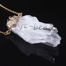 1x Gold Natural Random Clear Rock Crystal Quartz Drusy Cluster Pendants Jewelry
