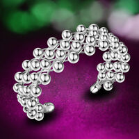 Lady  Silver Sterling Plated Beads Grape Charm Chain Bracelet Bangle New