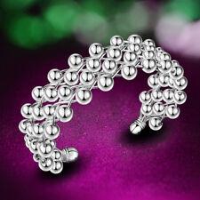 Frau 925 Silver Sterling Plated Beads Grape Charm Chain Bracelet Bangle New