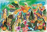 """Emanuele Luzzati - """"L'isola felice"""" - Pastelli e collage su cartoncino"""