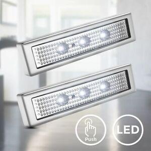 LED Push Light Unterbauleuchte Nachtlicht Touch Schranklampe Batterie 2er SET