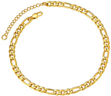 ChainsPro Gold Figaro Chain Ankle Bracelet Anklet Foot Jewelry,Womens/Gold Link