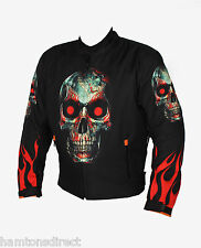 Mens MCW Gear Flames and Skull Motorcycle Motorbike Armour Jacket CE Protector