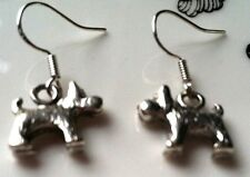 sterling silver wires animal lover pet Scot Terrier Dog Earrings silver, .925