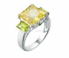 PERIDOT AND LIME QUARTZ RING SET IN STERLING SILVER