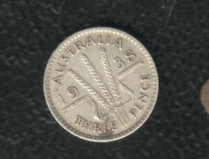 AUSTRALIA 3 PENCE 1938 SILVER