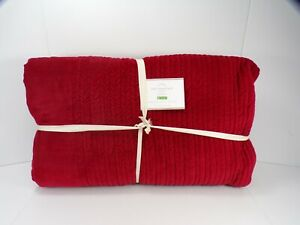 Pottery Barn Velvet Channel Quilt Full Queen Christmas Holiday Ruby Red #9855