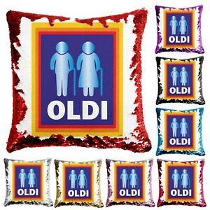Sequin Cushion Reveal Case Funny Old Elderly Birthday Gift Present Pillow OLDI