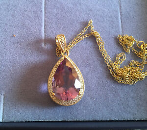 """9ct Hallmarked Gold TEARDROP AMETHYST DIAMOND Pearcut PENDANT & 17"""" Gold Chain"""