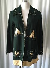 Vintage Mexican 40's Guillermo Guevara Hand Embroidered Green Wool Felt Jacket