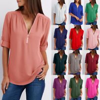 Womens Chiffon Long Sleeve Pullover Work Zipper Shirt Blouse Loose Ladies Tops