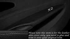 BLACK LEATHER 2X FRONT DOOR ARMREST SKIN COVERS FITS BMW 6 SERIES E63 E64 04-10
