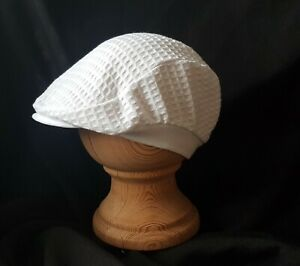 Baby boy White or Sky/White Cotton Waffle Caps! Made in the UK & Posted Daily