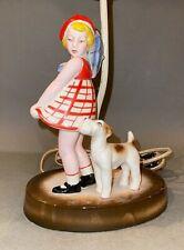 Vintage Art Deco Moriyama Japanese Ceramic Girl & Terrier Dog Figural Lamp Base