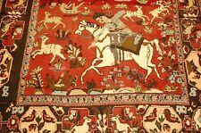 Ci 1920s ANTIQUE HIGHLY DETAILED PERSIAN BIJAR RUG 3.8x5.4 ANIMAL_HUMAN SUBJECTS