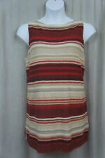 Ralph Lauren Top Woman Sz 1X Red Tan Multi Striped Linen Knit Casual Tank
