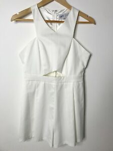 Madison Square White Playsuit Size M Sleeveless Cut Out Romper One Piece