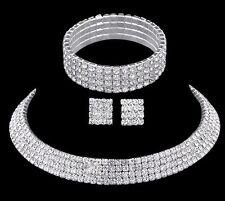 Wedding Bridal Choker 4 Row Set Necklace Earrings Bracelet Diamante Rhinestone